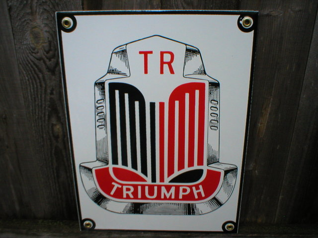 TRIUMPH PORCELAIN COATED SIGN