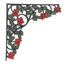HEAVY ROSE SHELF BRACKETS ONE SET CAST IRON
