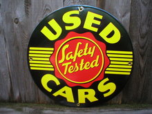 USED CARS PORCELAIN COATED SIGN