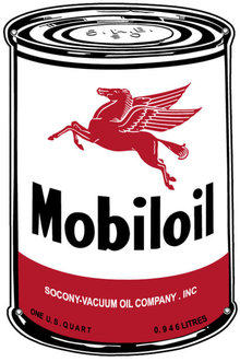 MOBILOIL CAN HEAVY STEEL SIGN