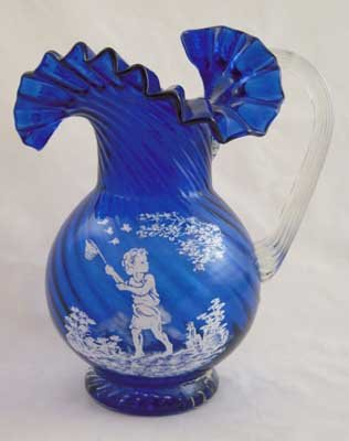 COBALT GLASS PITCHER GIRL BUTTERFLY DESIGN