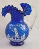 COBALT GLASS PITCHER GIRL BUTTERFLY DESIGN