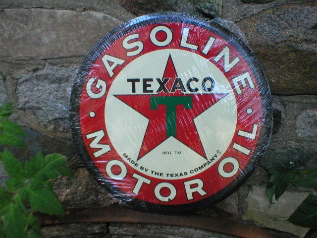 TEXACO MOTOR OIL ROUND TIN SIGN