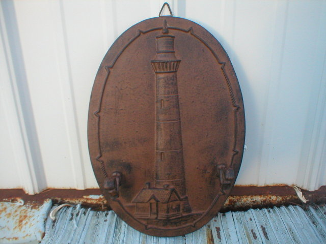 LIGHTHOUSE COATRACK CAST IRON 2 HOOK WALL HANGER