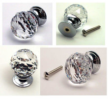 Single Clear LARGE CRYSTAL Glass Drawer Knobs Pulls