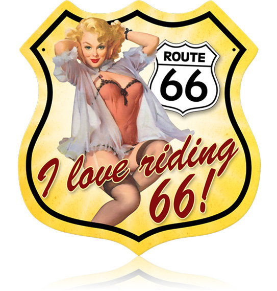 ROUTE 66 PINUP GIRL RIDING 66 METAL SIGN