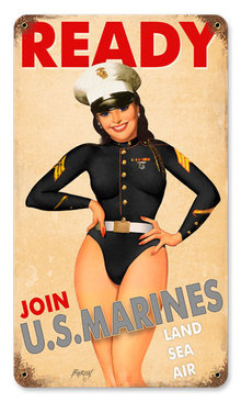 USMC PINUP GIRL HEAVY METAL SIGN