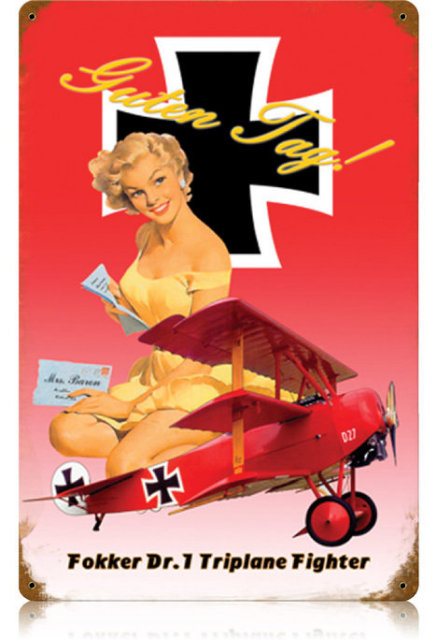 FOKKER TRIPLANE AIRCRAFT HEAVY METAL SIGN V173