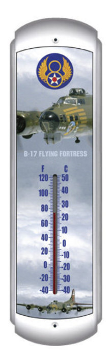 B-17 FLYING FORTRESS THERMOMETER HEAVY METAL SIGN