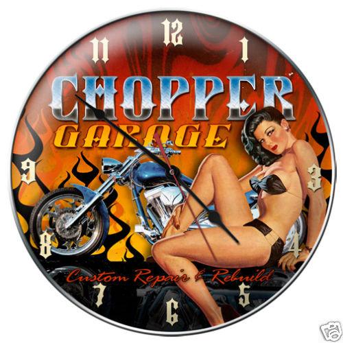 CHOPPER GARAGE CLOCK  AUTO SHOP GARAGE