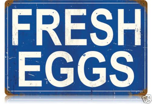 FRESH EGGS HEAVY METAL SIGN BLUE