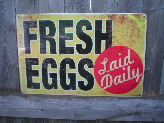 FRESH EGGS HEAVY METAL SIGN OLD LOOK