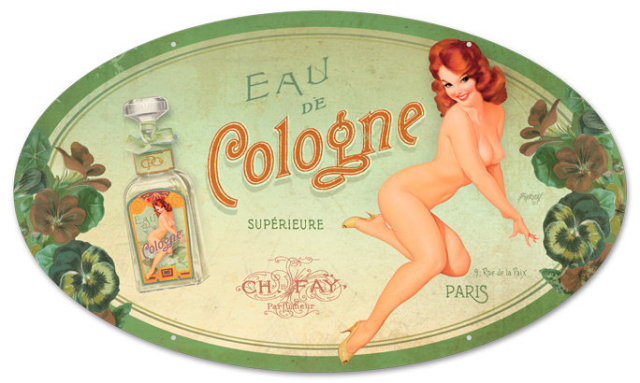 COLOGNE HEAVY OVAL METAL SIGN