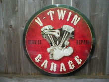 V-TWIN GARAGE SERVICE REPAIR Heavy Metal Sign