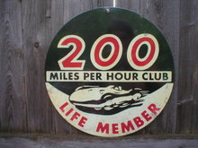 200 MILE PER HOUR CLUB Heavy Metal Sign