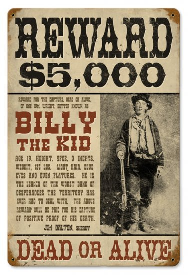 BILLY THE KID OUTLAW HEAVY METAL SIGN
