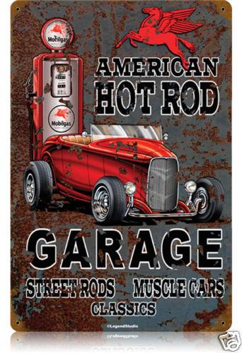 American Hot Rod Mobilgas HEAVY METAL SIGN