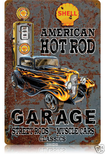 American Hot Rod Shell HEAVY METAL SIGN