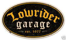 Lowrider Parts & Service Heavy Oval Metal Sign
