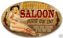 Dusty Saddle Saloon large oval metal sign