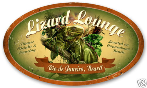 LIZARD LOUNGE Large Oval Metal Sign
