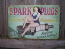 SPARK PLUGS CLEANED REGAPPED HEAVY METAL SIGN