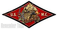 US Marines Diamond Shape Heavy Metal Sign