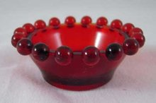 Red Candlewick Style Salt Dish ONE SET OF FOUR