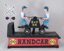 RAILROAD HAND CAR MECHANICAL BANK new