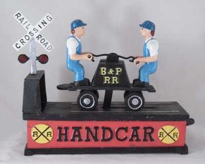RAILROAD HAND CAR MECHANICAL BANK new