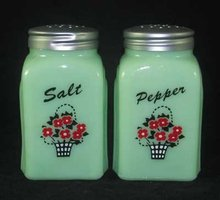 Jadeite Flower Basket Arch Salt & Pepper Set
