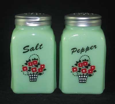 Jadeite Flower Basket Arch Salt & Pepper Set