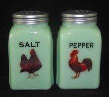 Jadeite Hen & Rooster Arch Salt & Pepper Set