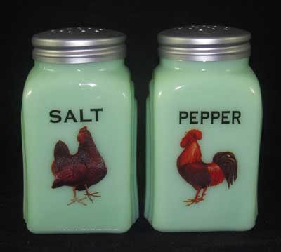 Jadeite Hen & Rooster Arch Salt & Pepper Set