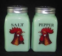 Jadeite Rooster Head Arch Salt & Pepper Set