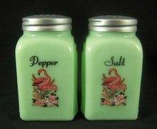 Jade Jadite Jadeite Pink  Flamingos Arch Salt  Pepper Set