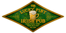 Lucky Pint  Irish Pub diamond shape HEAVY METAL SIGN