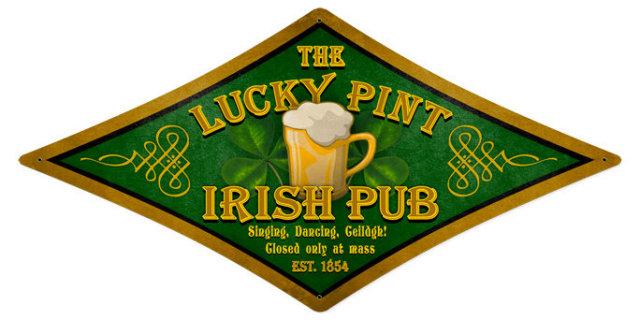 Lucky Pint  Irish Pub diamond shape HEAVY METAL SIGN