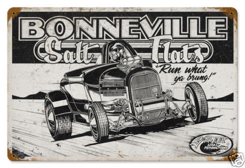 Bonneville Salt Flats HEAVY METAL SIGN BLACK WHITE