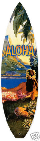 Aloha surfboard shaped metal sign COLORFUL
