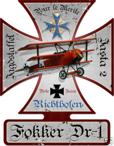 Fokker Triplane German WWI Red Baron metal sign
