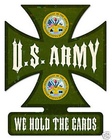 U.S. ARMY Iron Cross shaped metal sign
