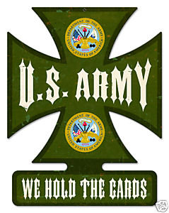 U.S. ARMY Iron Cross shaped metal sign