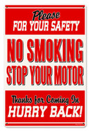 No Smoking Gas Station Safety heavy metal sign