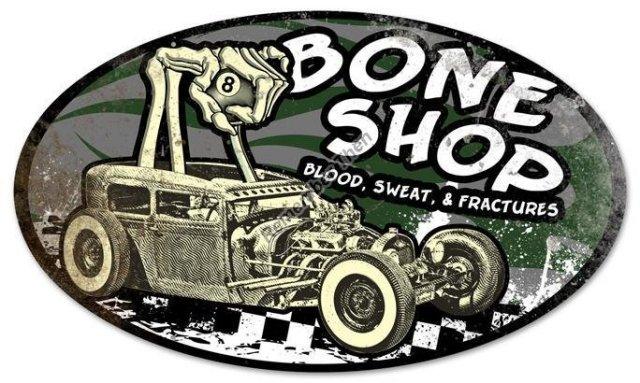 Bone Shop oval shaped Heavy Metal Sign