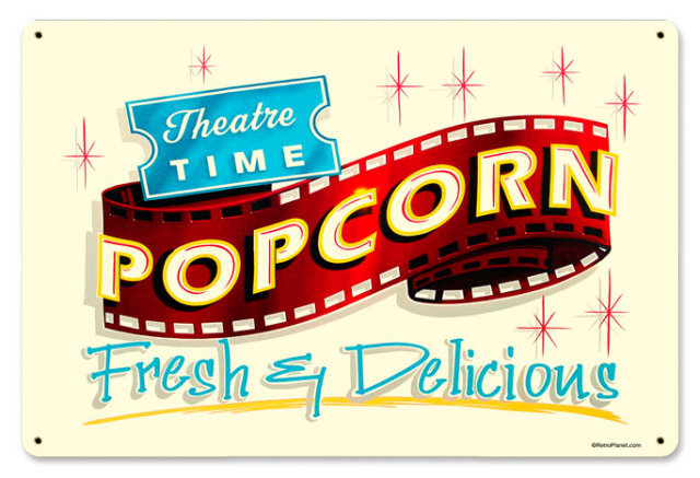 Fresh Popcorn theater sign HEAVY METAL SIGN