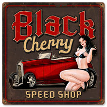 Black Cherry Speed Shop pin up girl HEAVY METAL SIGN