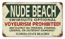 NUDE BEACH SWIMSUITS OPTIONAL Heavy Metal Sign
