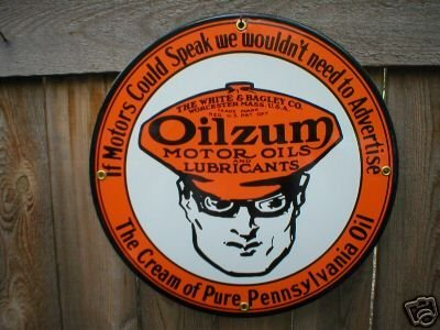 OILZUM MOTOR OIL PORCELAIN COAT SIGN