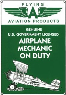 FLYING A AVIATION PRODUCTS PORCELAIN COATED SIGN